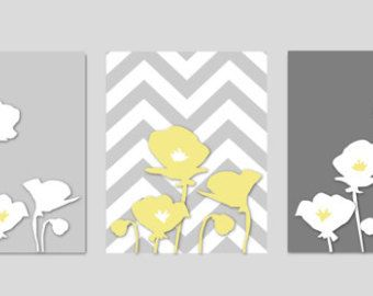 "Botanical Prints Home Decor Art Poppy Flowers with Chevron Zig Zag Stripes - Modern Wall Art Prints- Yellow and Gray Bathroom - 8""x10"""