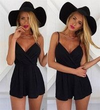 Wish | New Summer Women Casual Fashion Loose Suspenders Rompers Sexy V-neck Black Beach Playsuit Rompers
