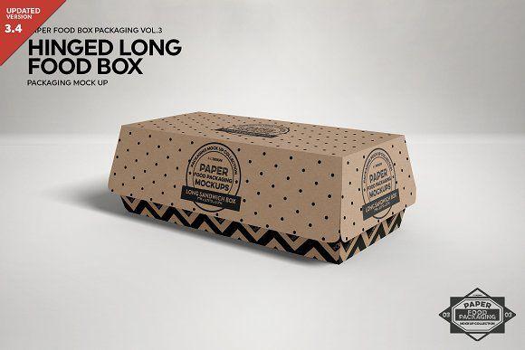 Download Hinged Long Sandwich Box Mockup Free Packaging Mockup Design Mockup Free Box Mockup