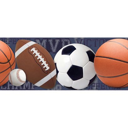 Navy Sports Balls Wallpaper Border