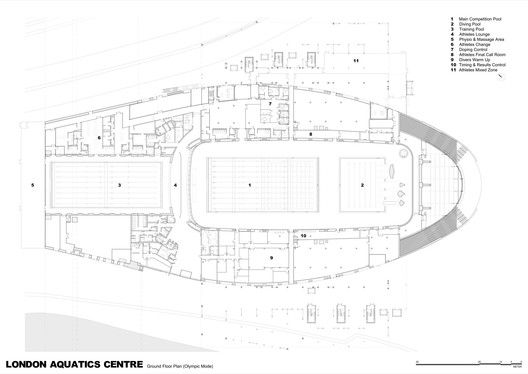 London Aquatics Centre for 2012 Summer Olympics,Ground Floor Plan (Olympic Mode)