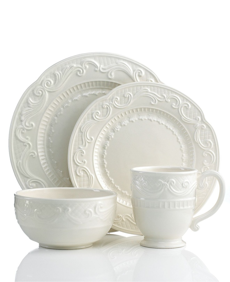 fitz and floyd dinnerware ricamo white 4 piece place setting casual dinnerware dining