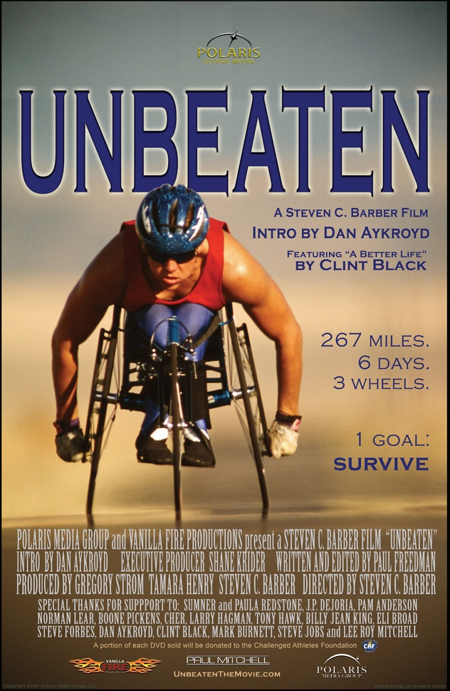 """Unbeaten is an inspirational story that chronicles the exploits of 31 disabled athletes as they make their way over six days in wheelchairs and hand cycles in what is known as the toughest road race in the world, """"Sadler's Alaska Challenge."""" For more information please visit www.polarisglobal.com"""