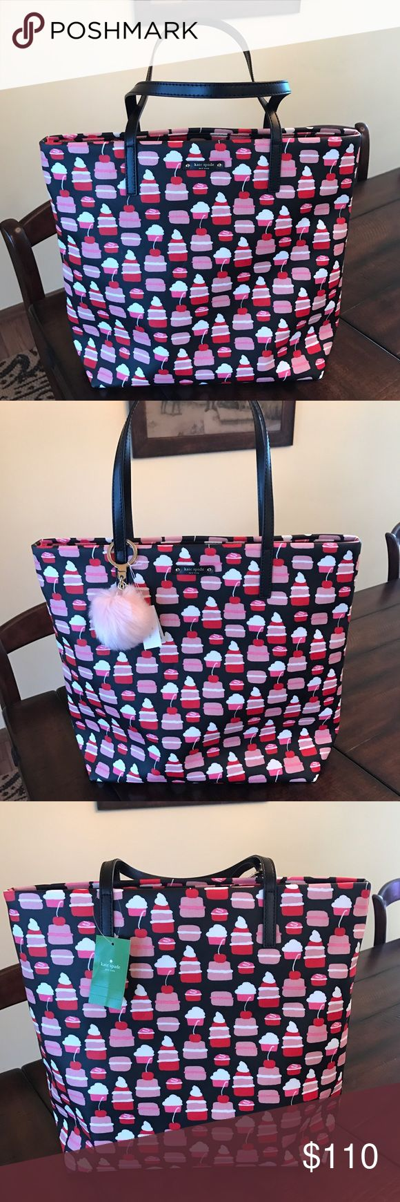 ♦️Kate Spade Take The Cake Mini Pastry Bon Shopper Kate Spade Take The Cake Mini Pastry Bon Shopper. NEW WITH TAGS!!  Selling this for a friend. This is a great Tote!  I'm thinking perfect size to have at my feet for a rode trip to hold iPad, headphones, snacks and those things I want near me. The pink or black Kate Spade fluff Pom key fob looks adorable on this bag. These are sold and listed separately. 🚫NO TRADES!  Only serious offers will be considered kate spade Bags Totes