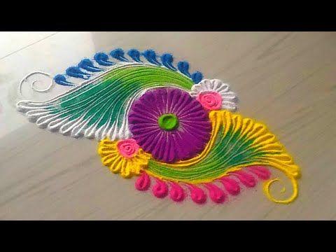 2 minutes rangoli designs by Jyoti Rathod - YouTube