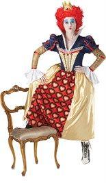 #RedQueen (uit Alice in Wonderland) kostuum bestaande uit de lange jurk en de rode pruik met het kroontje.