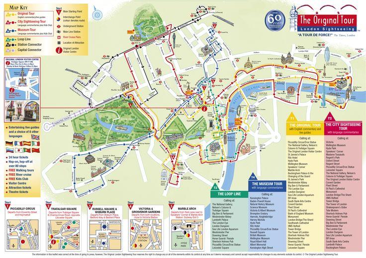 London - hop on hop off bus map