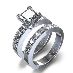 2 1/10 ctw Princess Cut Diamond Wedding Set in 14K White Gold...kinda different. I just LOVE princess cut!