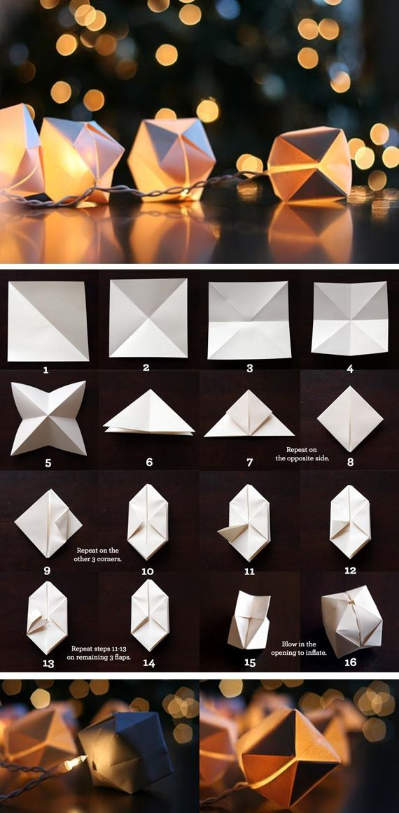 Paper cube lights - Bravo for Wit and Wisthle! As it said in the blog, christmas lights, taken away from their usual context, have infinite possibilities and she has created a beautiful string based on these lights and combined with paper origami cubes.