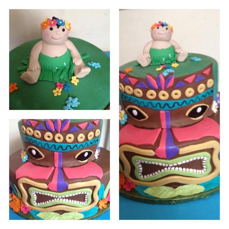 Tiki Hawaiian Baby Shower Cake