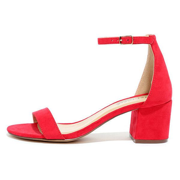 Babe Squad Red Suede Heeled Sandals ($25) ❤ liked on Polyvore featuring shoes, sandals, heels, red, block heel sandals, ankle tie sandals, ankle strap heel sandals, red shoes and red sandals