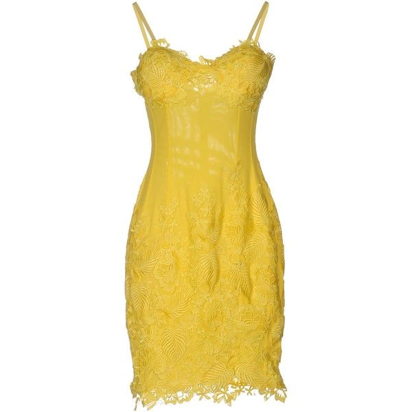 Musani Couture Short Dress ($285) ❤ liked on Polyvore featuring dresses, yellow, mini dress, yellow lace dress, two piece short dresses, lace mini dress and sleeveless dress