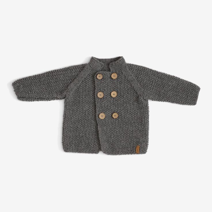Moss Stitch Coat - Pewter