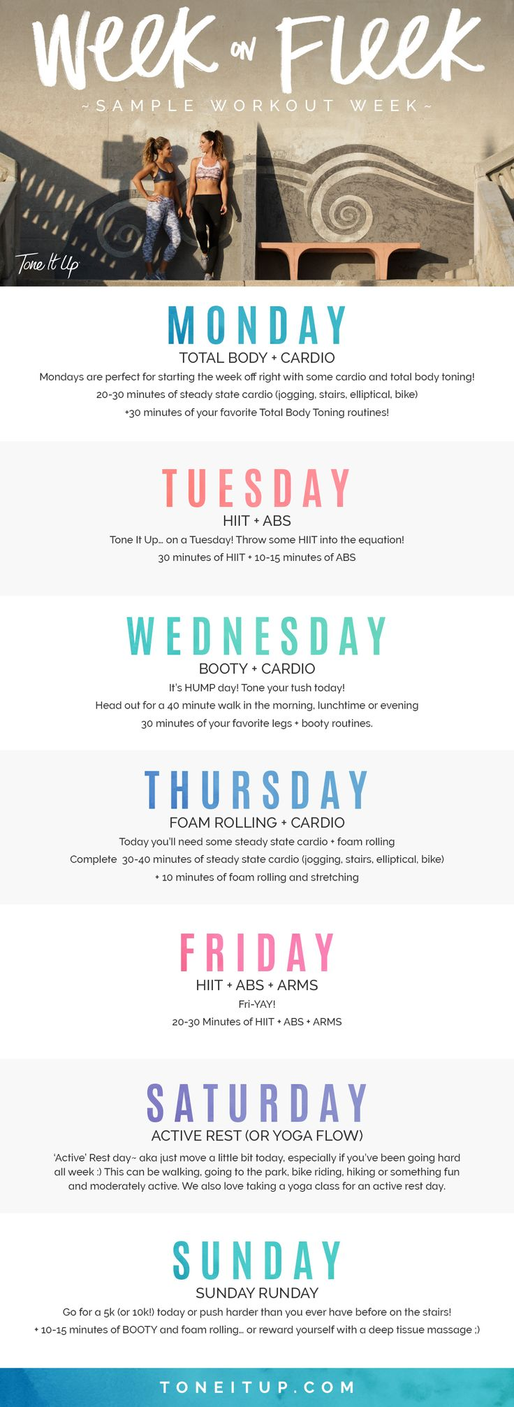 Ever wonder how often you should do cardio or HIIT?  For those of you who want a quick snapshot of an ideal week, we've got you! Take a look above for an easy to follow plan. The best part is that it can be customized with your fave routines! Be sure to check Tone It Up every Sunday for your Weekly Schedule!