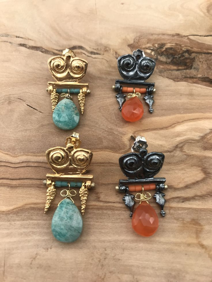 Owl Earrings  silver&goldplated with amazonite and agate stones
