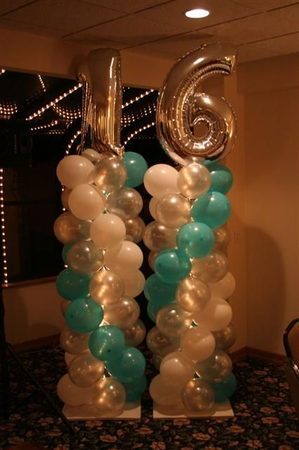 127 best images about winter wonderland sweet sixteen on for Birthday balloon centerpiece ideas