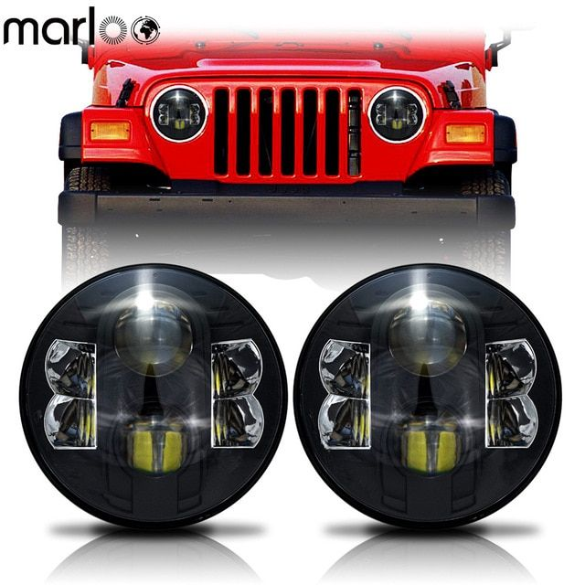 Marloo 2x 7 Inch 80w H4 Led Headlights Daymaker Wrangler 7 Round