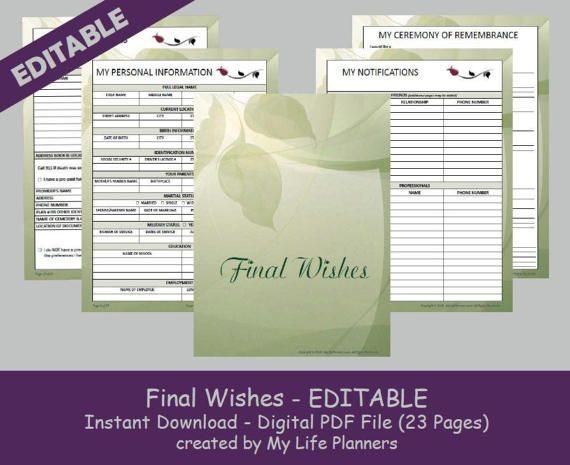 Final Wishes Planner, Funeral Planner, Burial Arrangements, Remembrance Kit, Happy Planner Insert, Editable, Printable, PDF, Green  Final Wishes is a printable editable digital file. It is designed to assist your loved ones with invaluable information and help ease the burden of