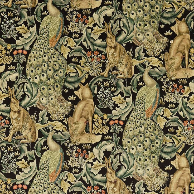 william morris rugs reproductions | William Morris & Co Archive Prints 2 Fabrics Forest Fabric - Charcoal ...