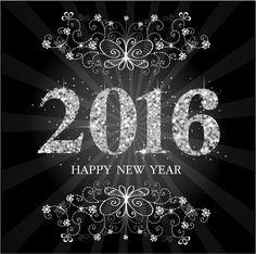 Fondo con logo del nuevo año 2016 en formato vectorial y también para Photoshop por capas. Para calendarios, Año Nuevo, Noche Vieja. Descarga gratis.