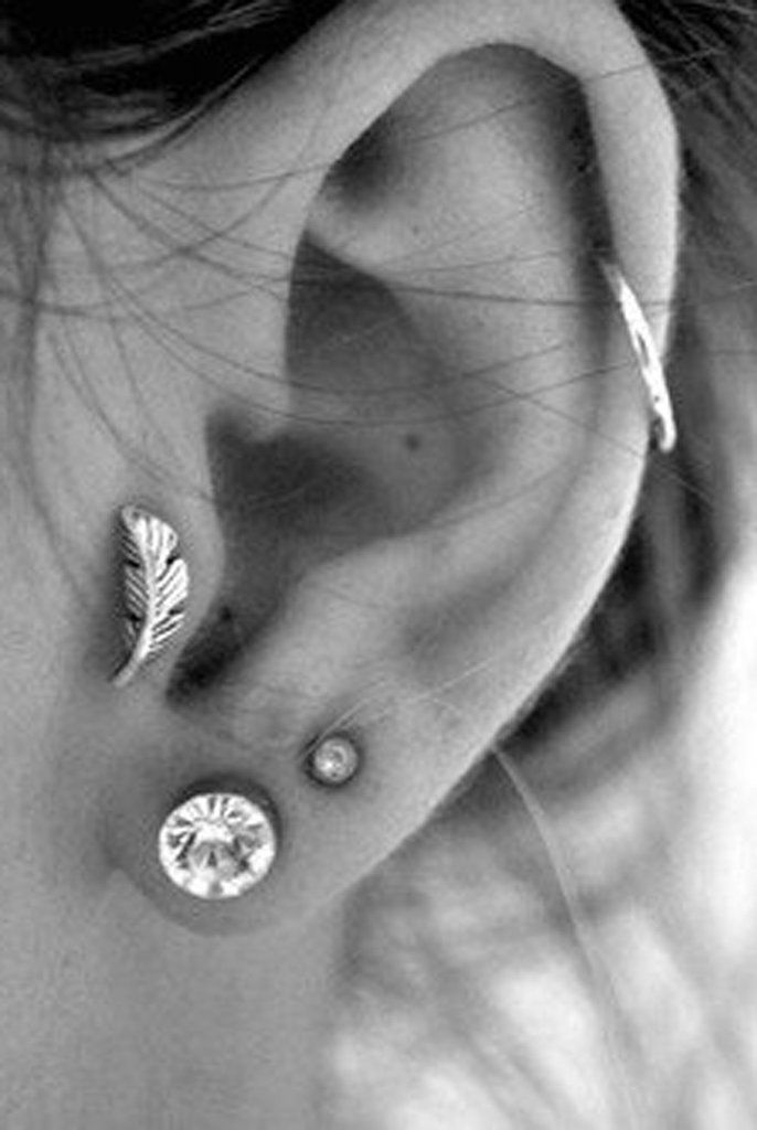 Leaf Tragus Piercing Jewelry Earring at MyBodiArt.com