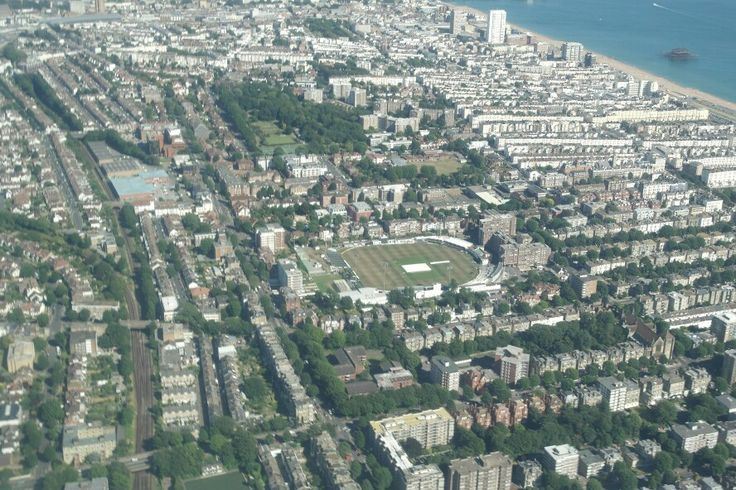 Aerial view of Brighton & Hove showing the Sussex county cricket ground in Eaton Road, Hove