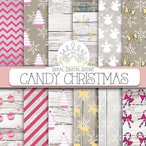 CHRISTMAS DIGITAL PAPER Pack christmas by royaldigitalstore #christmas #gold #digitalpaper #candy #rustic #scrapbooking #scrapbookpaper #xmas