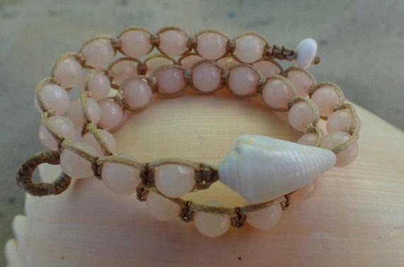 SALE Hawaiian Shell & Jade Beaded Wrap Bracelet by CoconutLily - £18.50