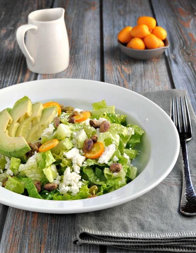 Kumquat Avocado and Pistachio Salad with Orange Honey Vinaigrette - Pinch and Swirl
