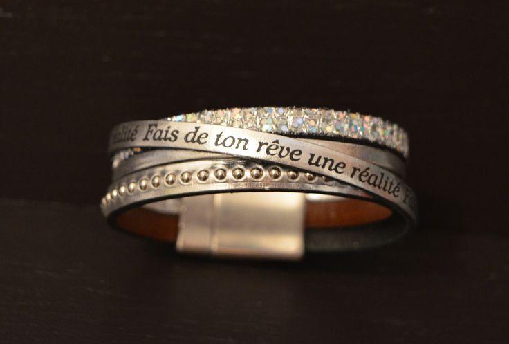 Bracelet Manchette Cuir Argenté °°Rêve°° : Bracelet par nattachaa