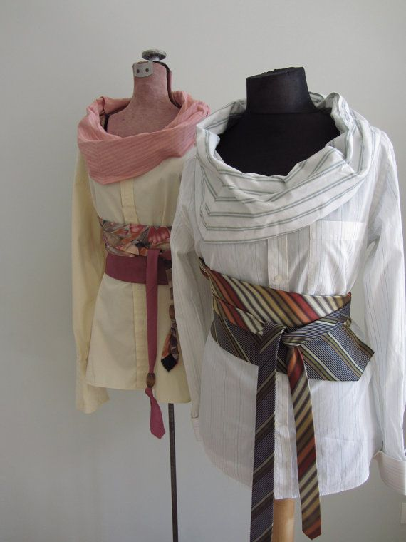 Upcycled Clothing - Boyfriend Cowl Neck Shirt with Neckties Belt - MADE to ORDER in YOUR color choice - Refashioned Mens Shirt - Women Tops. $58.00, via Etsy.