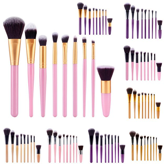 9 Sztuk mutil-color Profesjonalny Zestaw Do Makijażu Pędzle Powder Blush Fundacja Eyeliner Eyeshadow Makijaż Narzędzia Zestawy (opp torby do pakowania)