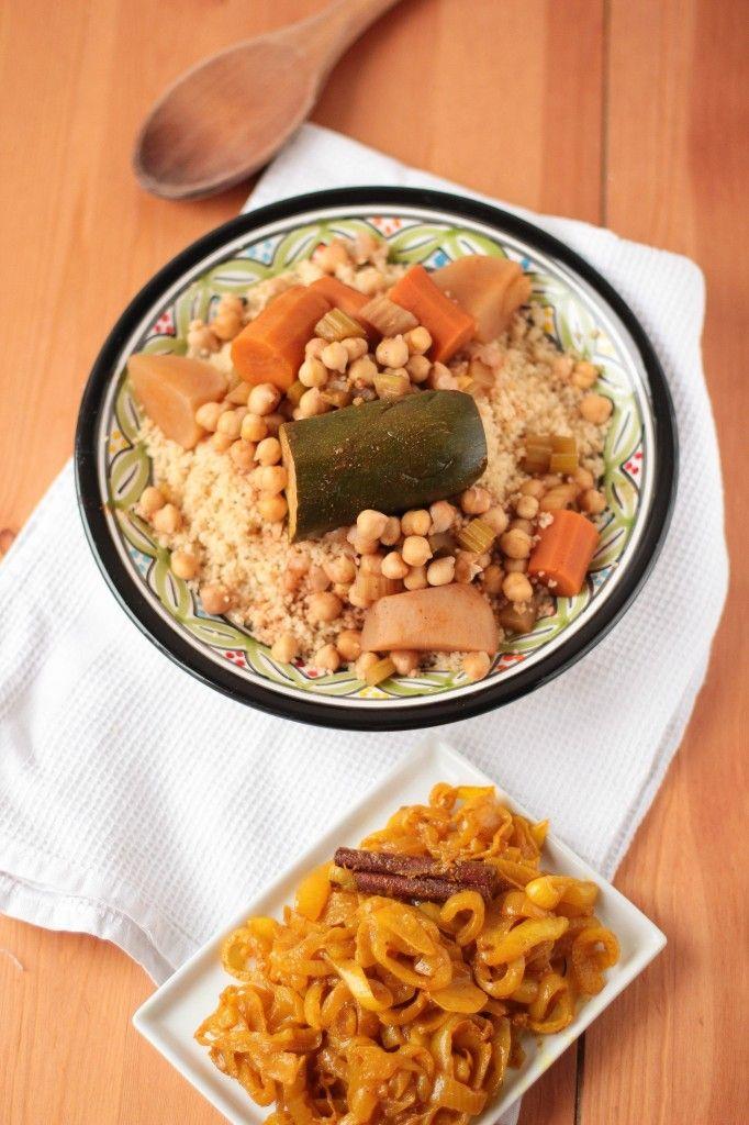 couscous végétarien et confit d'oignons aux épices -- vegetarian couscous and spiced caramelized onions