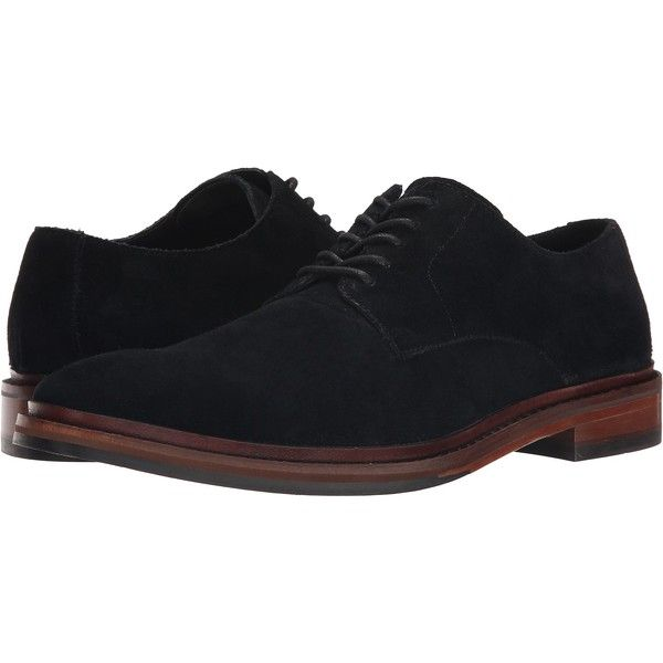Cole Haan Williams Buck II (Black Suede) Men's Lace Up Wing Tip Shoes ($100) ❤ liked on Polyvore featuring men's fashion, men's shoes, black, mens black wingtip shoes, mens suede lace up shoes, mens wingtip shoes, mens suede oxford shoes and mens black suede shoes