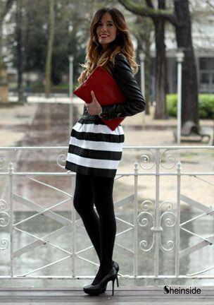 Falda plisada rayas-Blanco y negro
