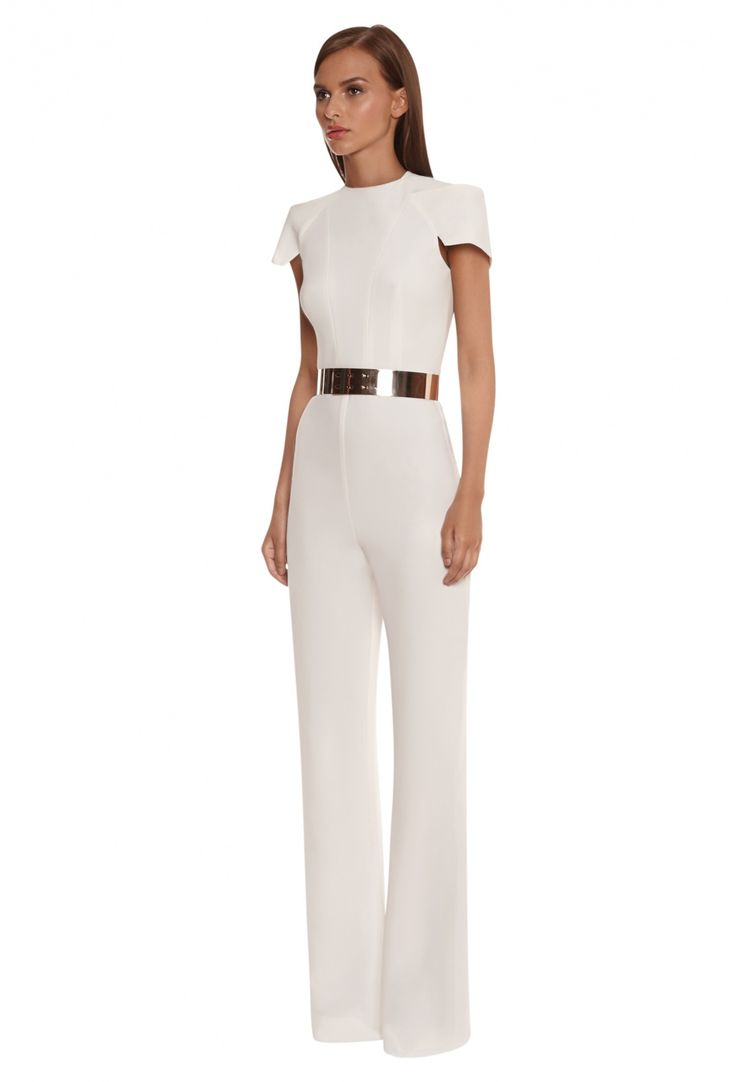 Hustla Tailored Jumpsuit with Structured Shoulders · White · AQ/AQ
