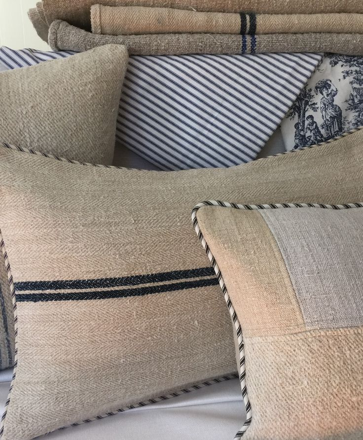 Authentic Grainsack pillows from OneBluebellLane...