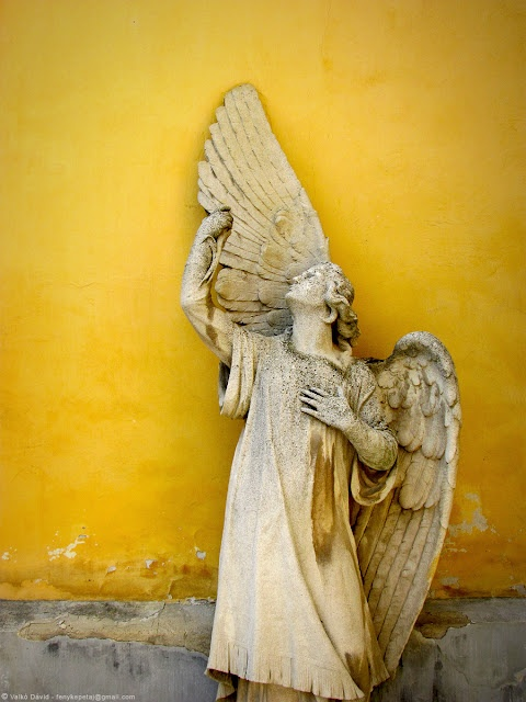Sculpture of an angel in Kőszeg, Hungary
