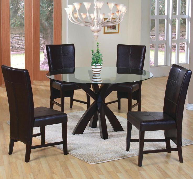 Shoemaker Crossing Pedestal Table Base With Round Beveled Glass Top. 5 Piece  Dining SetParsons ...