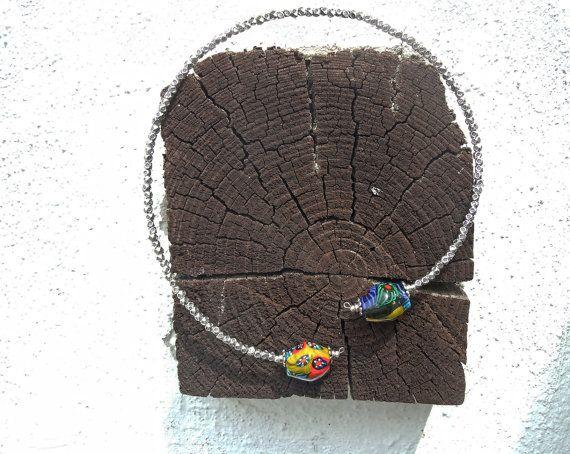 Collana girocollo in vetro di Murano colorato, idea regalo collana, collana donna, collana per lei, collana particolare, vetro di Murano