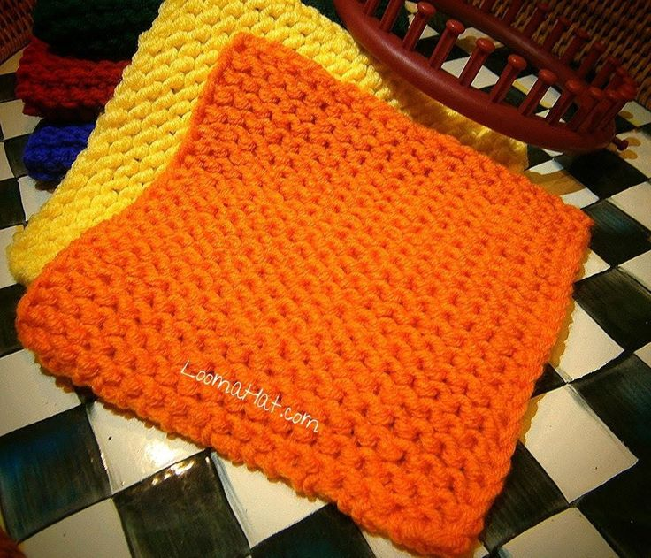 Easy Round Loom Knitting Ideas : Knit a square on any loom flat panel round circular