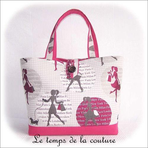"""Sac cabas ou sac à ouvrage - tons de rose fuchsia, gris, et taupe, motif """"shopping"""" - fait main."""