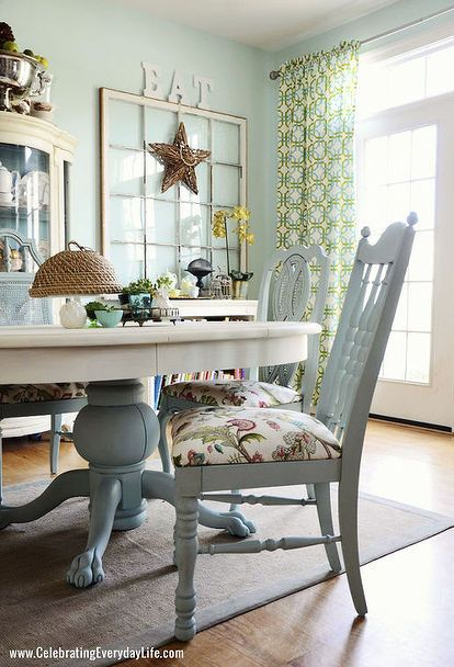 dining room table and chairs makeover with annie sloan chalk paint - Living Room And Dining Room Sets