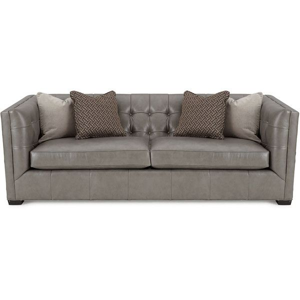 Hayden Tufted-Leather Sofa ($2,699) ❤ liked on Polyvore featuring home, furniture, sofas, grey, tufted sofa, tufted leather sofa, handcrafted furniture, tufted leather couch and leather couch