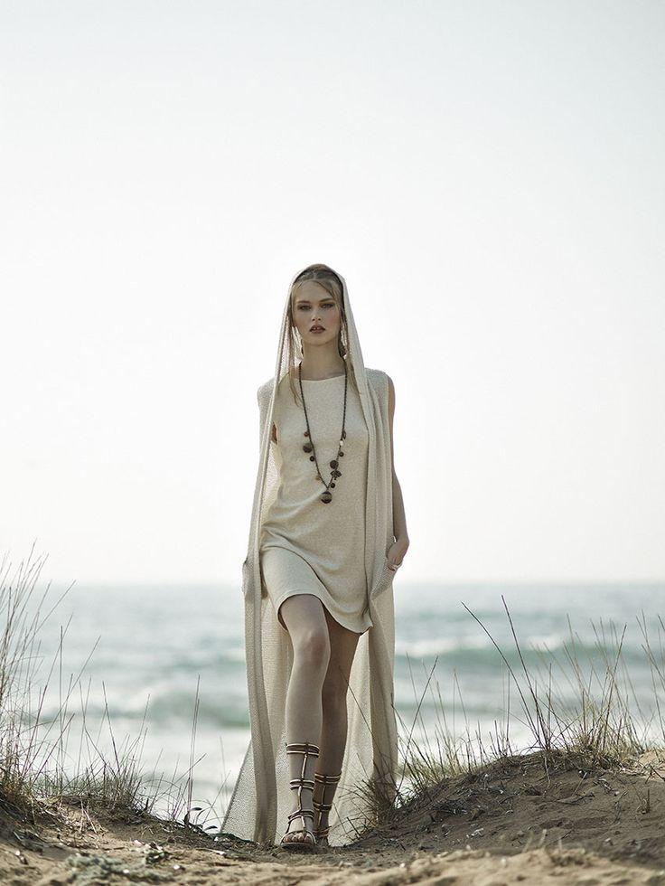Ecru mini dress with a matching hooded vest