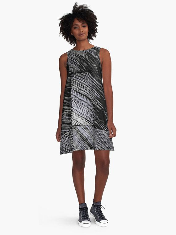 A-line Printed Dress, Line Art - The Scratch, melted paper pattern, abstract oversized dress, oversize tunic, loose dress, casual dress, sporty look, unique pattern straigh... #fashion #style #trending #etsy #clothing ➡️ http://jto.li/dYyaR