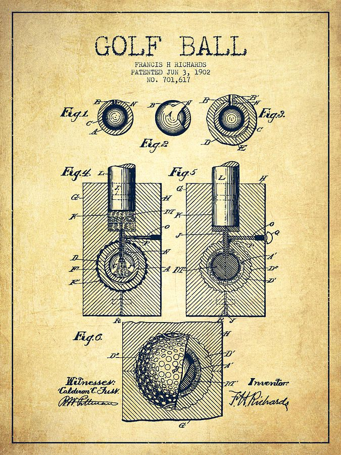A Vintage Golf Ball Patent Drawing From 1902 On Grunge Background