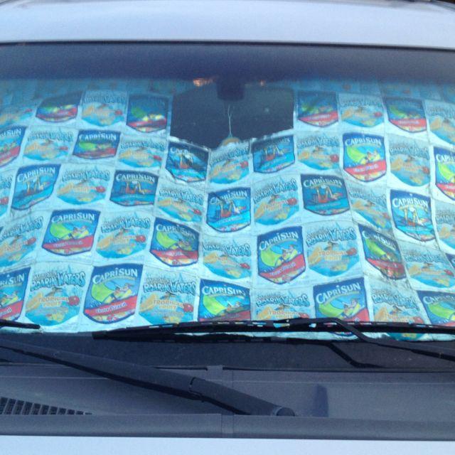 Made my new car sun shade...all those Capri Sun pouches come in handy!!