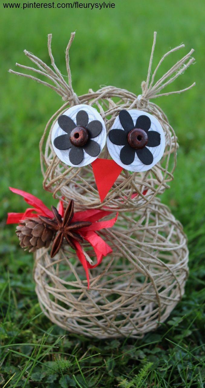 Un hibou tout en ficelle. Bricolage enfant. http://pinterest.com/fleurysylvie/mes-creas-pour-les-kids/