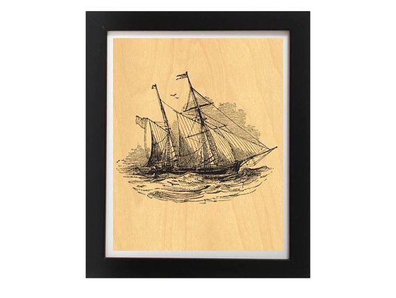 Modern Vintage Ship  Nautical Theme Art by TheWoodPaperShoppe